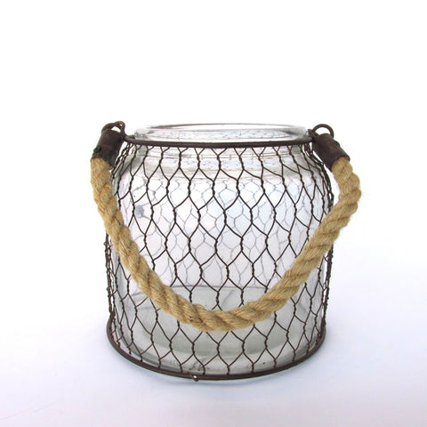 Glass Jar with Metal Wire and Rope Handle