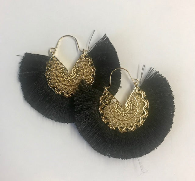 Black Fan Earrings