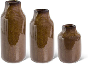 Brown Fluted Vase Set
