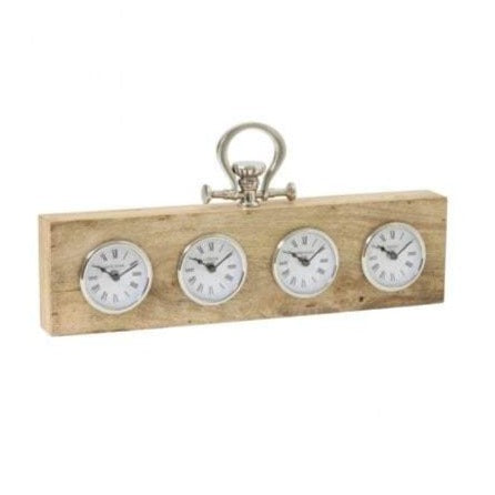 Cities Wood & Nickel Clock