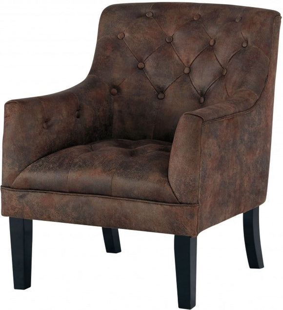 Brown Distressed Tufted Chair