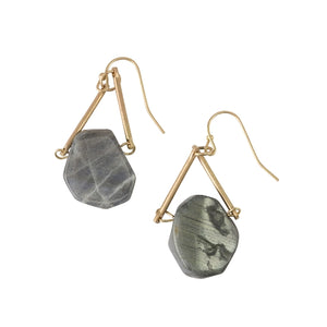 Gold Triangle & Black Stone Earrings