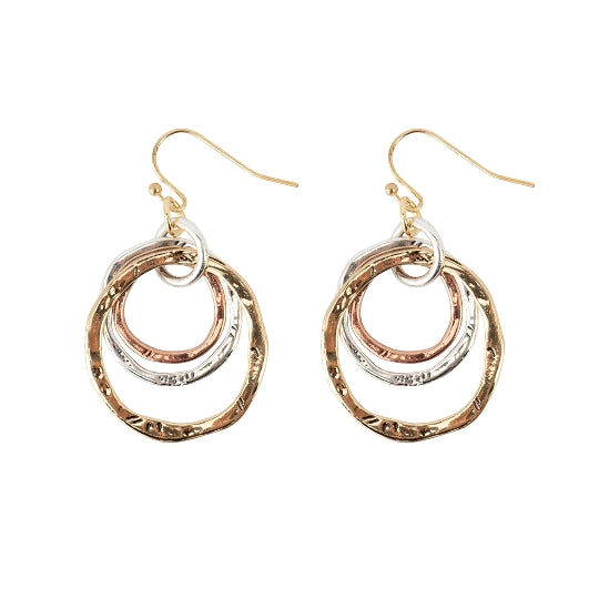 Tri-color Circle Earrings