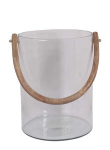 Glass Bucket with Wooden Handle