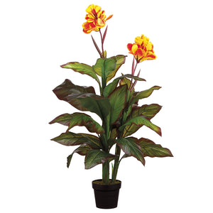 Potted Faux Canna Plant