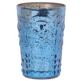 Marine Blue Embossed Votive Holder