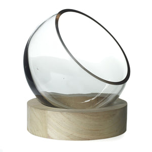 Clear Bowl on Wood Base