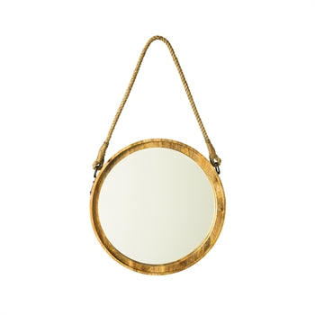 Round Wood Mirror on Rope