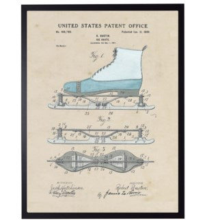 Ice Skate Patent Framed Art