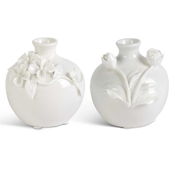 White Vase with Floral Motif