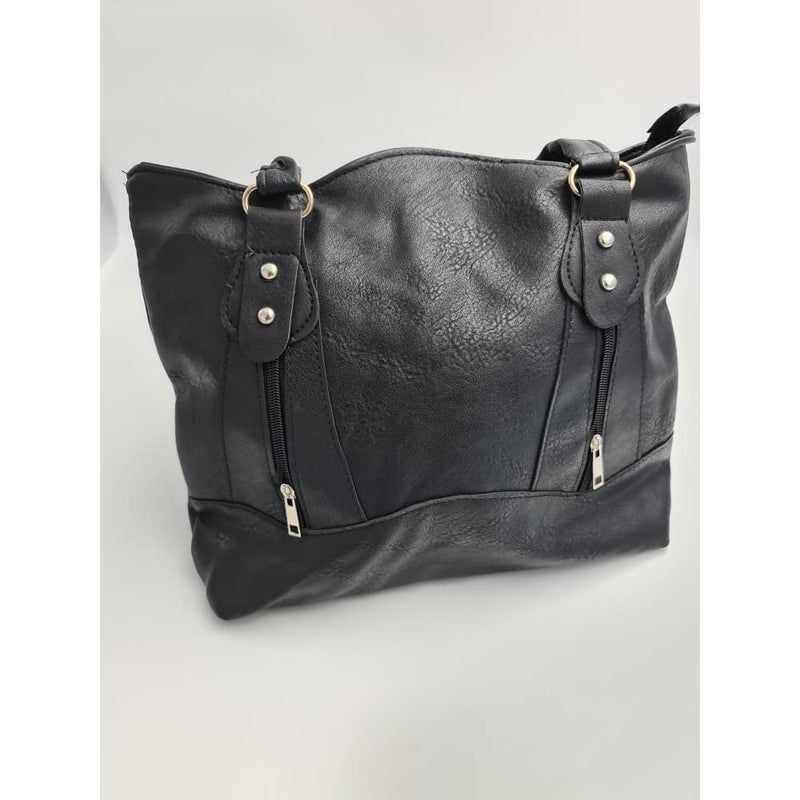 Ladies Black with silver studs hand bag - Safety Mo