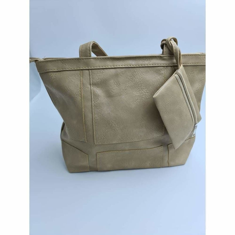 Ladies light brown hand bag with pouch - Safety Mo
