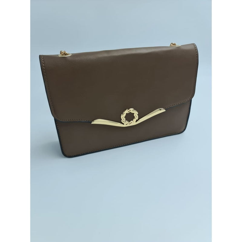 Ladies Shimmer Chocolate brown clutch bag with gold details - Safety Mo