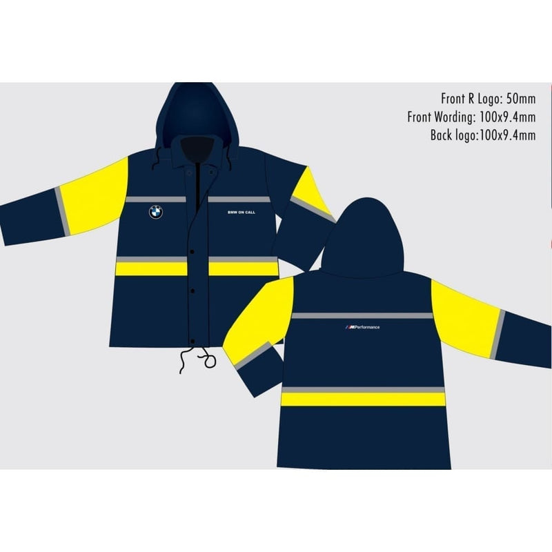 Navy and Yellow Rain Jacket with embroidery - Safety Mo