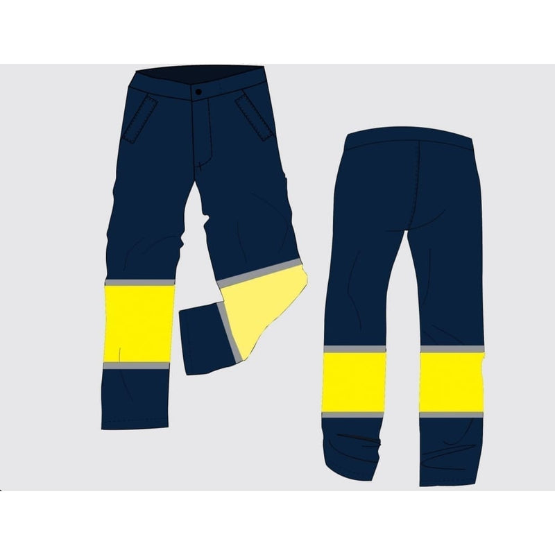 Navy and Yellow rain Trouser with Embroidery