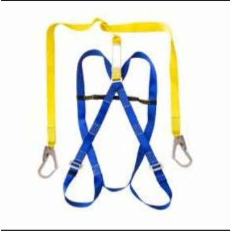 Pioneer safety harness with double lanyard and scaffold