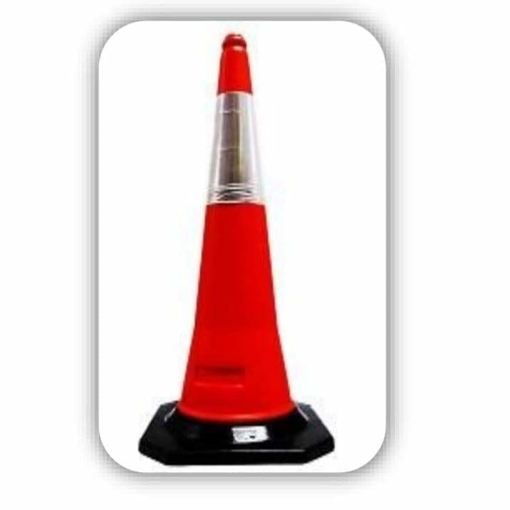 Red Traffic Cone With Black Rubber Base 1000mm - Safety Mo