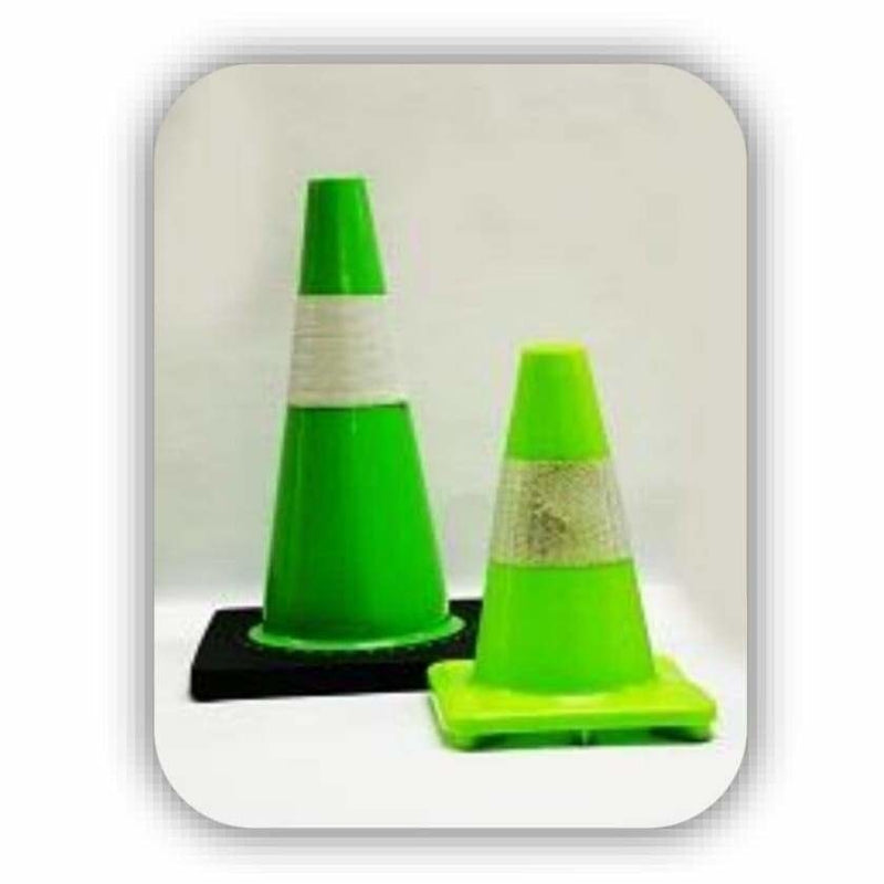 Traffic Cone Soft PVC 450mm Lime - Safety Mo
