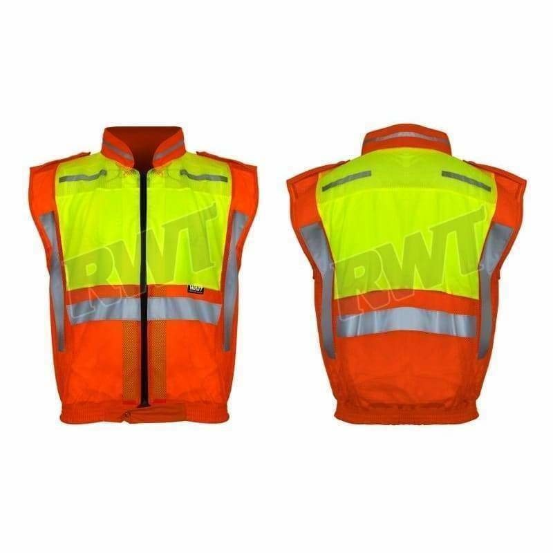 Watt collar jacket– orange and lime sleeveless metro