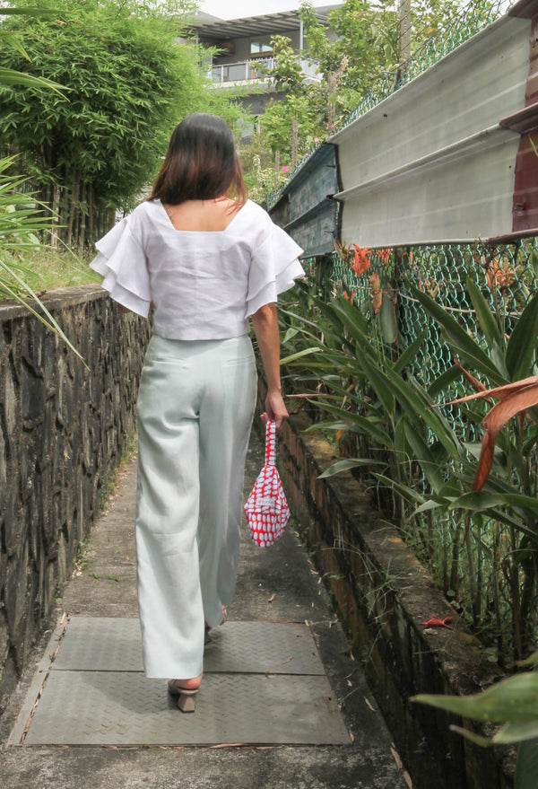 Kei High Waist Trousers in Baby Blue