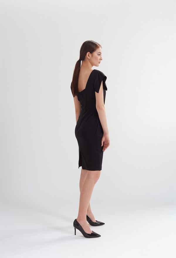 Square Neck Dress with Pockets in Black