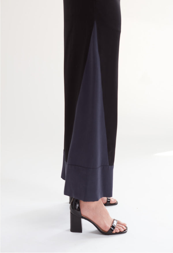 Deco High Waist Trousers in Black & Navy