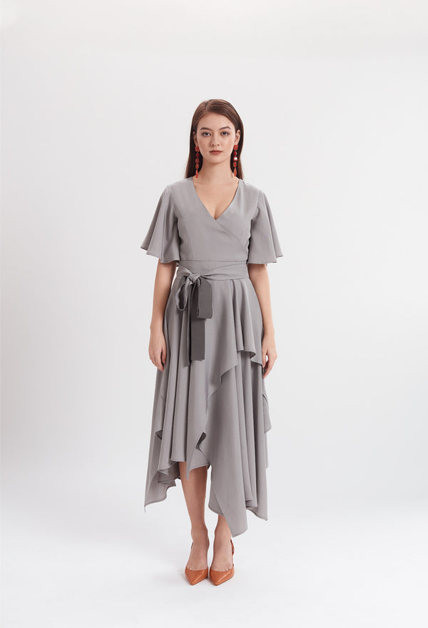 Two-tone Handkerchief Dress in Grey