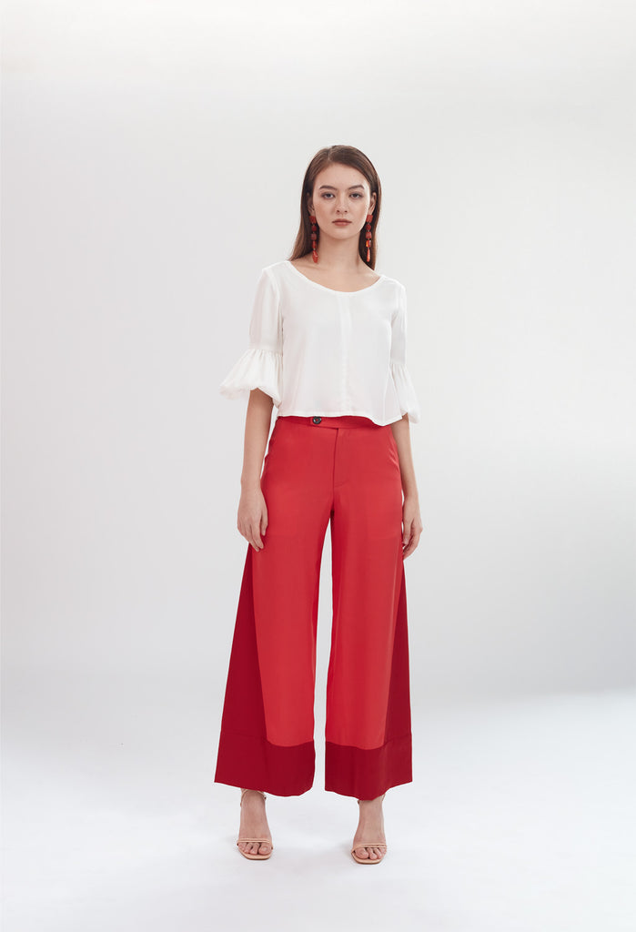 Deco High Waist Trousers in Coral & Ruby