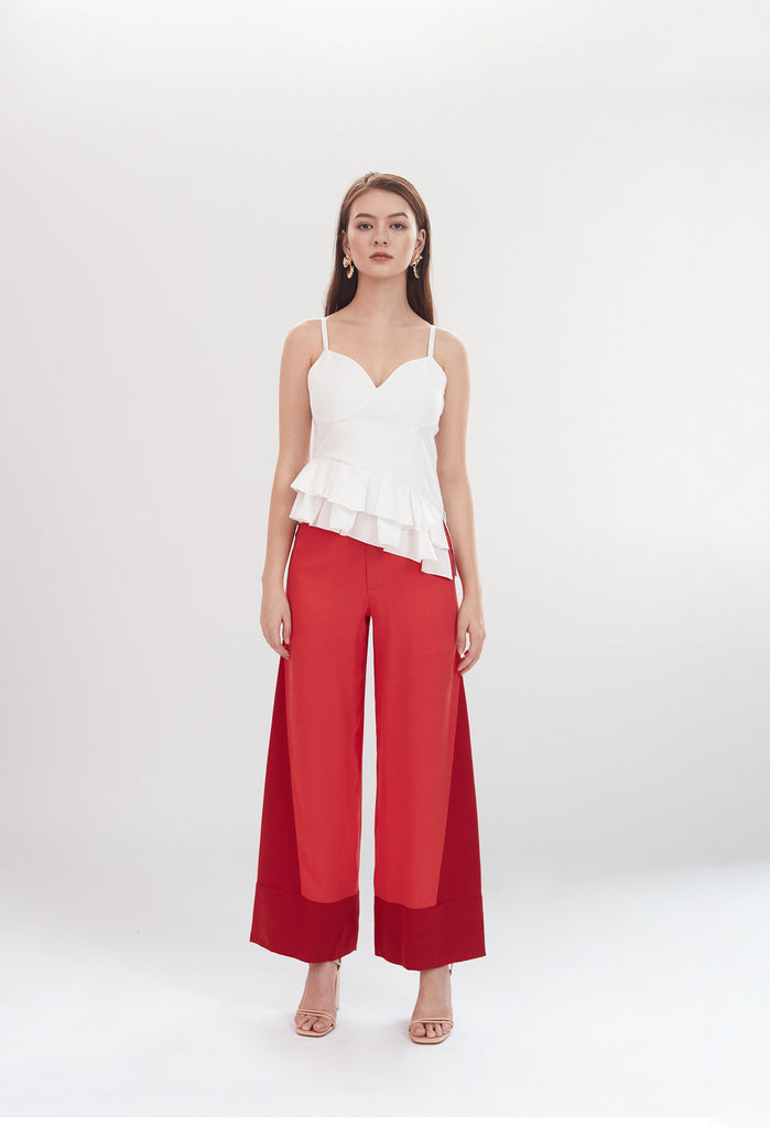 PRE-ORDER Deco High Waist Trousers in Coral & Ruby