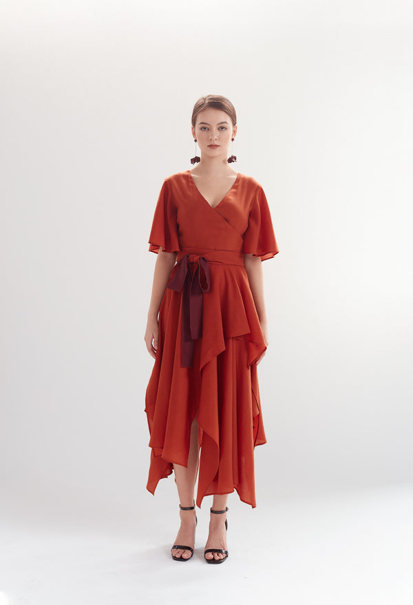Two-tone Handkerchief Dress in Terracotta