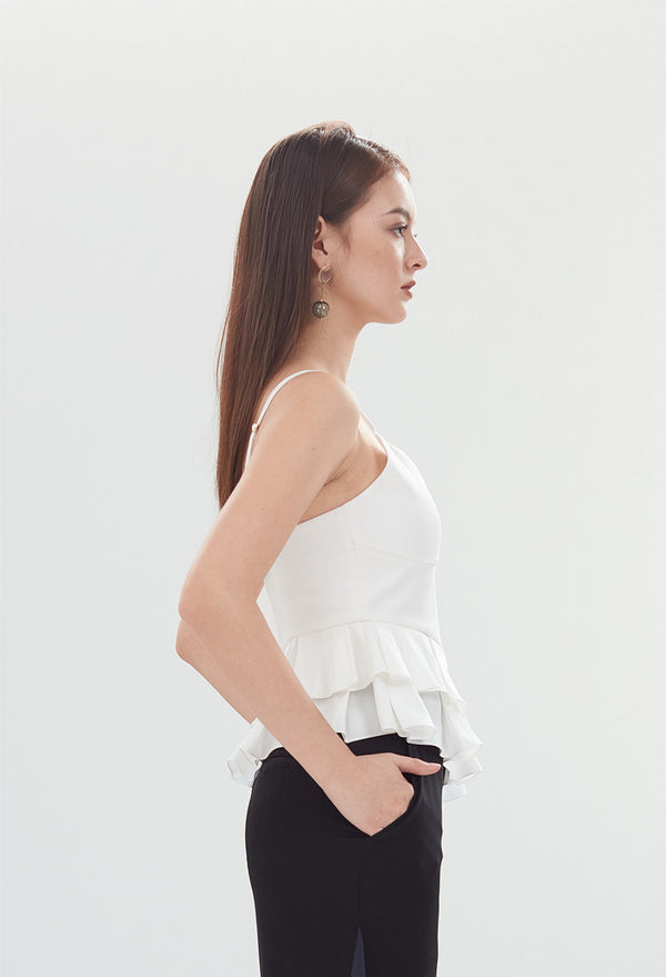 Asymmetrical Ruffle Peplum Sleeveless Top in White