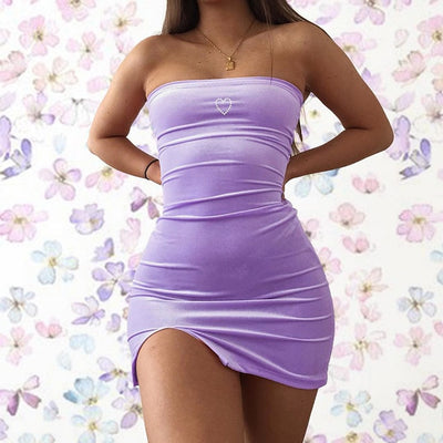 LVINMW Sexy Velvet Slash Neck Love Print Side Split Mini Dress 2019 Summer Women Sleeveless Backless Slim Dresses Female Party