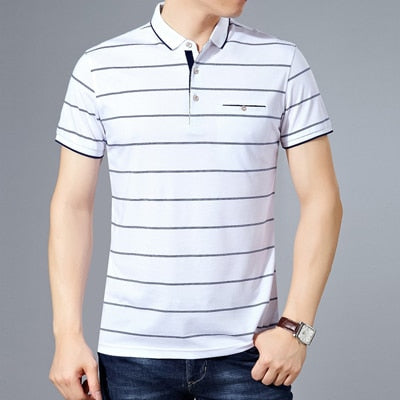 MIACAWOR New Slim Fit  Polo shirts Men Cotton Fashion Striped Men  Summer Short sleeve Tee shirt Homme Casual Camisa  T718