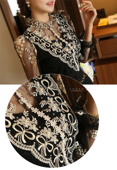 2019 fashion Spring long sleeve Women shirts lace blouse shirt Slim Elegant Plus size sexy hollow lace shirt women tops 980F 35