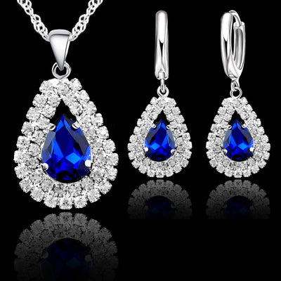 Elegant Wedding Jewelry Sets 925 Sterling Silver Women Fine Water Drop Crystal Engagement Pendant Necklace Earrings Set