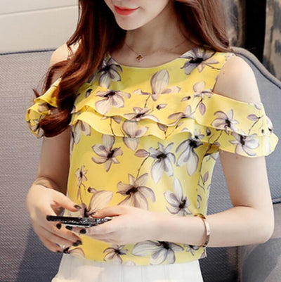 Women Off Shoulder Short Sleeve Blouses Print Floral Chiffon Shirts Casual Ladies Clothing Female Blusas Women Tops