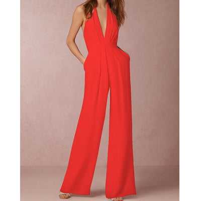 Office Ladies Jumpsuit Sexy Deep V-neck Flared Pants One-pieces Macacao Feminino Halter Strapless Pocket Simple Woman Jumpsuit