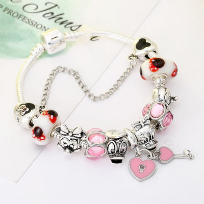 New Design Sliver Plated Brand Bracelet Cartoon Donald Duck & Mickey Minnie Beads Charm Bracelet for Women Jewelry Gifts