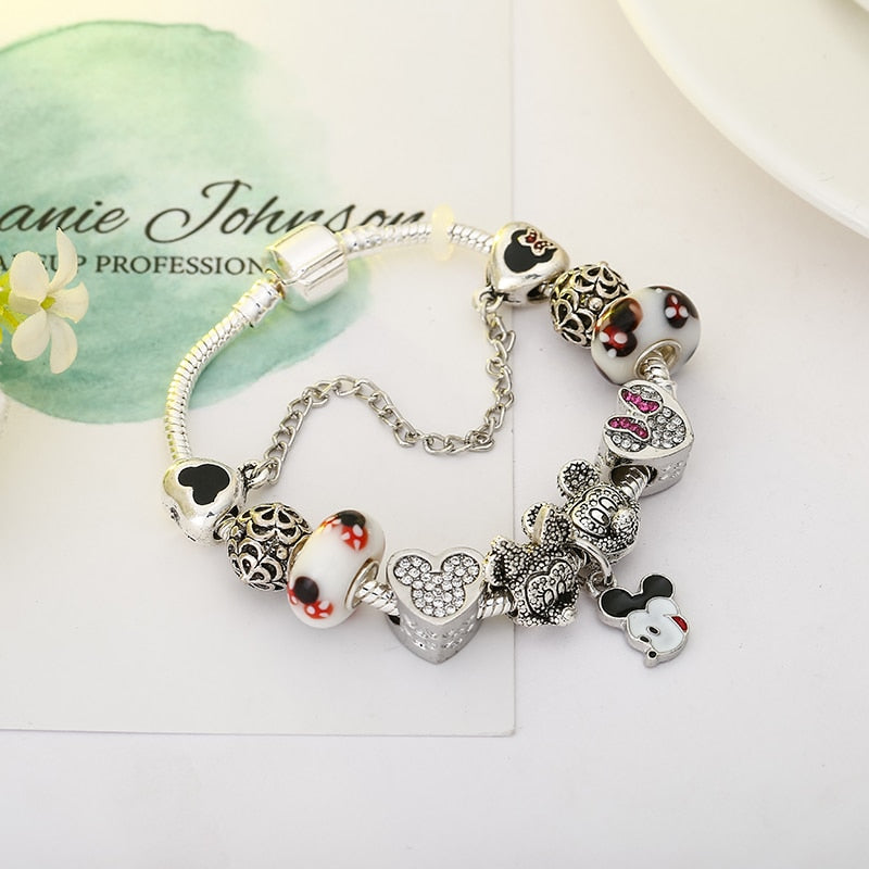 Animal Mickey Minnie Charm Bracelets & Bangle For Women Fashion Original DIY Minnie Brand Bracelet for Women Jewelry Gift