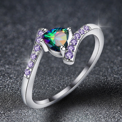 Beiver Double Heart Rainbow CZ Ring in Rhodium Plated Wedding Bands AAA Zircon Jewelry Women Accessories Engagement Ring