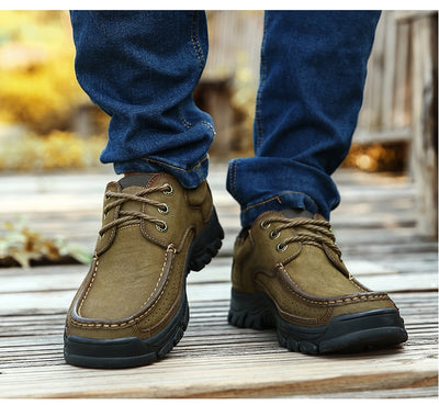 2019  New High Quality Men's shoes 100% Genuine Leather Casual Shoes Waterproof  Work Shoes Cow Leather Loafers Plus Size 38-48