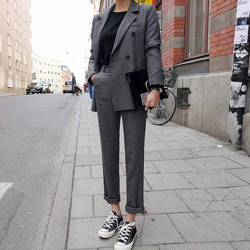 Fashion Business Pant Suits Uniform Formal Double Breasted Jacket and Long Pant Black Blazer Set Women OL 2 Two Pieces Suits