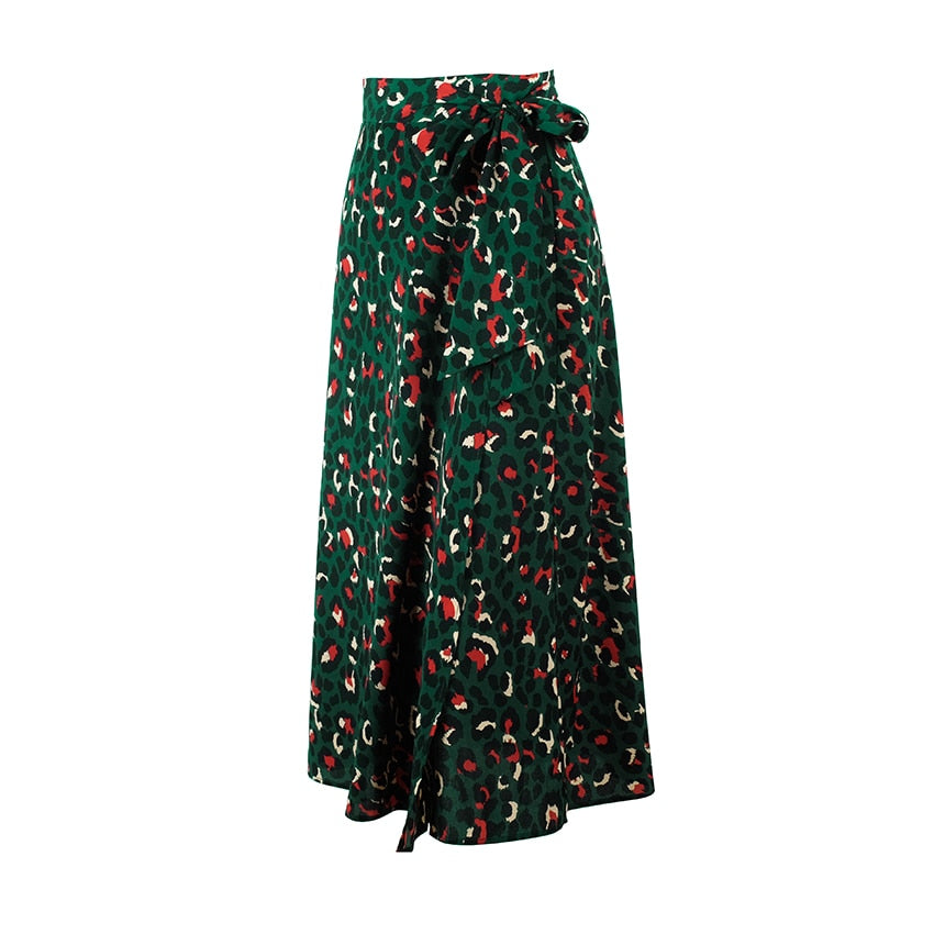 OOTN Vintage Leopard Print Long Skirts Women High Waist Midi Skirt Bow Tie 2019 Summer Sexy Split Wrap Skirt Ladies Green Beach