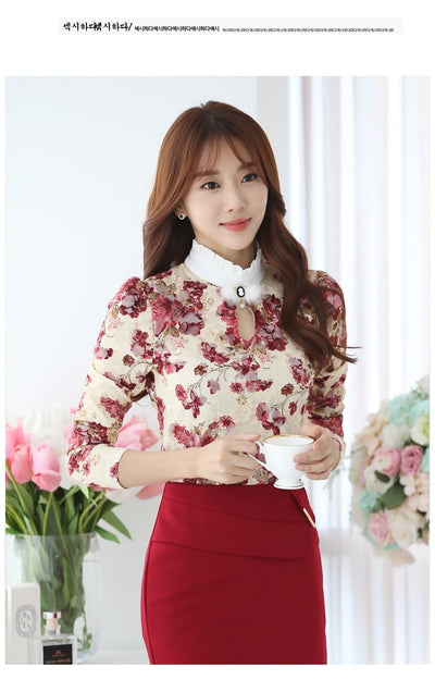 2019 Casual winter Autumn High Collar print Crochet Lace Blouses Women Ladies Tops Lace Women Blouses Long Sleeve Shirt S-3XL