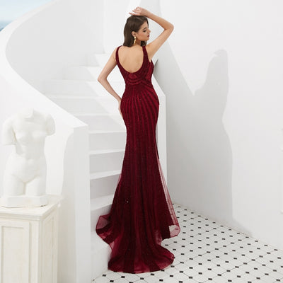 Plus Size Evening Dresses 2020 Beading Sequined Lace Wine Red Mermaid Long Prom Gowns Walk Beside You Occasion Dresses for Women