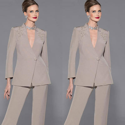 2018 New Fashion Elegant Mother Of Bride Pant Suits Long Sleeves Two Pieces Deep V-Neck Appliques Satin Custom Make Formal Suit