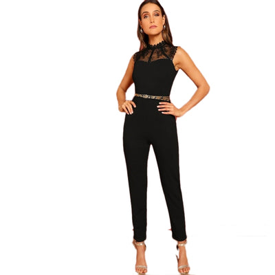 SHEIN Black Constract Lace Bodice Open Back Halter Skinny Mid Waist Sleeveless Jumpsuit Autumn Women Modern Lady Jumpsuits