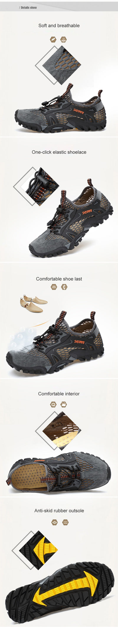 ZYYZYM Men Mesh Casual Shoes Spring Summer Breathable Light Outdoor Wading Walking Men Shoes Fashion Sneakers Footwear