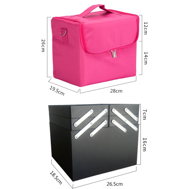 Fashion Women Makeup Organizer Large Capacity Multilayer Clapboard Cosmetic Bag Case Beauty Salon Tattoos Nail Art Tool Bin