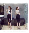 Women's Skirt High Waist Pencil Skirt Summer Fashion Women Knee Length Lace office Lady Formal  Skirts Plus Size167A30